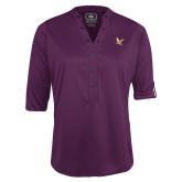 Ladies Purple Ogio 3/4 Sleeve Henley-
