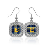 Crystal Studded Square Pendant Silver Dangle Earrings-E w/ Tartan Pattern