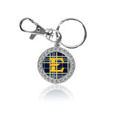 Crystal Studded Round Key Chain-E w/ Tartan Pattern