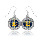 Crystal Studded Round Pendant Silver Dangle Earrings-E w/ Tartan Pattern