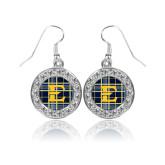 Crystal Studded Round Pendant Silver Dangle Earrings-E w/ Tartan Pattern