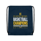 Nylon Navy Drawstring Backpack-2017 Southern Conference Tournament Mens Basketball Champions Stacked