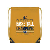 Nylon Gold Drawstring Backpack-2017 Southern Conference Tournament Mens Basketball Champions Stacked
