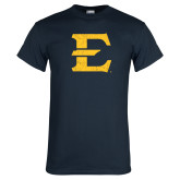 Navy T Shirt-E - Offical Logo Distressed