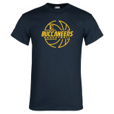 Navy T Shirt-Basketball Outline Design