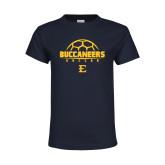Youth Navy T Shirt-Soccer Outline Design