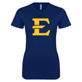 Next Level Ladies SoftStyle Junior Fitted Navy Tee-E - Offical Logo