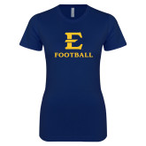 Next Level Ladies SoftStyle Junior Fitted Navy Tee-E Football