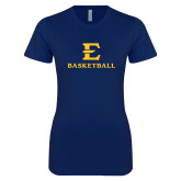 Next Level Ladies SoftStyle Junior Fitted Navy Tee-E Basketball