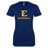 Next Level Ladies SoftStyle Junior Fitted Navy Tee-E Baseball