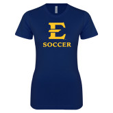 Next Level Ladies SoftStyle Junior Fitted Navy Tee-E Soccer