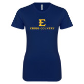 Next Level Ladies SoftStyle Junior Fitted Navy Tee-E Cross Country