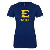 Next Level Ladies SoftStyle Junior Fitted Navy Tee-E Golf