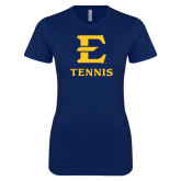 Next Level Ladies SoftStyle Junior Fitted Navy Tee-E Tennis