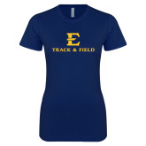 Next Level Ladies SoftStyle Junior Fitted Navy Tee-E Track and Field