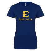 Next Level Ladies SoftStyle Junior Fitted Navy Tee-E Softball