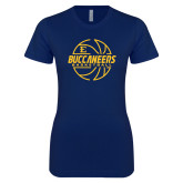 Next Level Ladies SoftStyle Junior Fitted Navy Tee-Basketball Outline Design