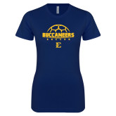 Next Level Ladies SoftStyle Junior Fitted Navy Tee-Soccer Outline Design