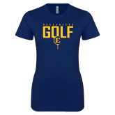 Next Level Ladies SoftStyle Junior Fitted Navy Tee-Golf Tee Design
