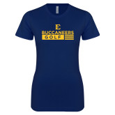 Next Level Ladies SoftStyle Junior Fitted Navy Tee-Golf Flag Design