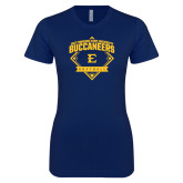 Next Level Ladies SoftStyle Junior Fitted Navy Tee-Softball Field
