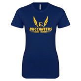Next Level Ladies SoftStyle Junior Fitted Navy Tee-Cross Country Wings
