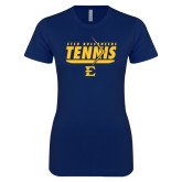 Next Level Ladies SoftStyle Junior Fitted Navy Tee-Tennis Arrow