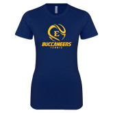 Next Level Ladies SoftStyle Junior Fitted Navy Tee-Tennis Ball