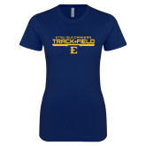 Next Level Ladies SoftStyle Junior Fitted Navy Tee-Track and Field