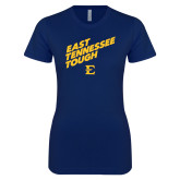 Next Level Ladies SoftStyle Junior Fitted Navy Tee-East Tennessee Tough Slant