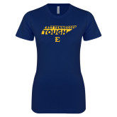 Next Level Ladies SoftStyle Junior Fitted Navy Tee-East Tennessee Tough State