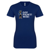 Next Level Ladies SoftStyle Junior Fitted Navy Tee-Bucky Go Fight Win