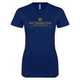 Next Level Ladies SoftStyle Junior Fitted Navy Tee-East Tennessee University - Institutional Mark