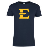 Ladies Navy T Shirt-E - Offical Logo