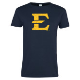 Ladies Navy T Shirt-E - Offical Logo Distressed