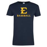 Ladies Navy T Shirt-E Baseball