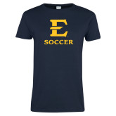 Ladies Navy T Shirt-E Soccer