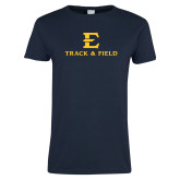 Ladies Navy T Shirt-E Track and Field