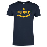 Ladies Navy T Shirt-Baseball Plate Design