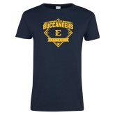 Ladies Navy T Shirt-Softball Field