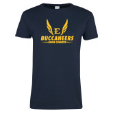 Ladies Navy T Shirt-Cross Country Wings
