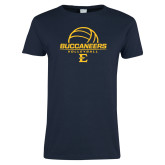 Ladies Navy T Shirt-Volleyball on Top