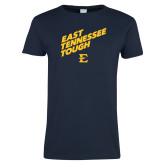 Ladies Navy T Shirt-East Tennessee Tough Slant