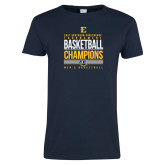 Ladies Navy T Shirt-2017 Southern Conference Tournament Mens Basketball Champions Stacked