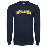 Navy Long Sleeve T Shirt-Arched East Tennessee University Buccaneers