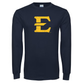 Navy Long Sleeve T Shirt-E - Offical Logo Distressed