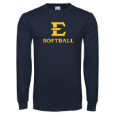 Navy Long Sleeve T Shirt-E Softball