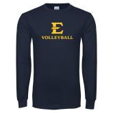 Navy Long Sleeve T Shirt-E Volleyball