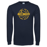 Navy Long Sleeve T Shirt-Basketball Outline Design