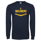 Navy Long Sleeve T Shirt-Baseball Plate Design